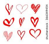 red hearts vector set for... | Shutterstock .eps vector #366349454