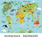 cartoon world map with animal... | Shutterstock .eps vector #366366260