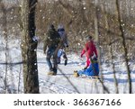 family walk on sled | Shutterstock . vector #366367166