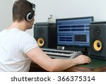 male sound producer working in... | Shutterstock . vector #366375314