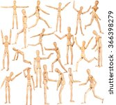 Set Of Wooden Dummies Isolated...