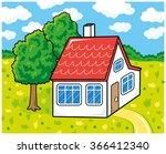 white house on a landscape... | Shutterstock .eps vector #366412340