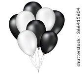 black and white glossy balloons ... | Shutterstock .eps vector #366415604