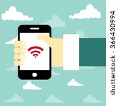 concept of mobile app in flat... | Shutterstock .eps vector #366430994