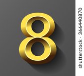 gold font with bevel  number 8...   Shutterstock .eps vector #366440870