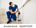 male worker spraying pesticide... | Shutterstock . vector #366447659