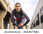 athlete brunette woman jogger... | Shutterstock . vector #366467483