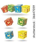 alphabet on a cubes. c. | Shutterstock .eps vector #36647059