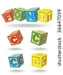 alphabet on a cubes. c. | Shutterstock .eps vector #36647059