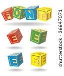 alphabet on a cubes. e. | Shutterstock .eps vector #36647071