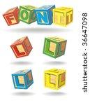 alphabet on a cubes. l.   Shutterstock .eps vector #36647098