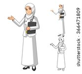 muslim woman doctor wearing... | Shutterstock .eps vector #366471809