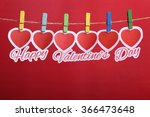 red paper hearts with happy... | Shutterstock . vector #366473648