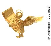 angel using golden calculator | Shutterstock . vector #3664811