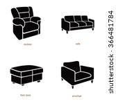 lounge chairs vector icons