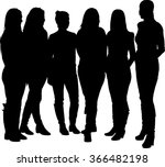 Vector Silhouette Of A Group O...
