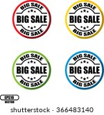 big sale   button  label and... | Shutterstock .eps vector #366483140