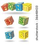 alphabet on a cubes. s.   Shutterstock .eps vector #36648433