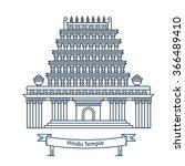 hindu temple. hinduism symbol.... | Shutterstock .eps vector #366489410