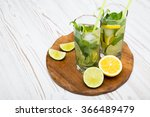 mojito on wooden background | Shutterstock . vector #366489479
