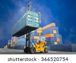 forklift handling container box ... | Shutterstock . vector #366520754