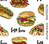 fast food. hamburger  hot dog ... | Shutterstock .eps vector #366550256