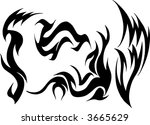 wild tattoo group vector... | Shutterstock .eps vector #3665629