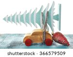 wooden toy car with christmas... | Shutterstock . vector #366579509