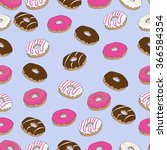 donuts seamless pattern on the... | Shutterstock .eps vector #366584354