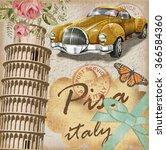 pisa vintage poster. | Shutterstock .eps vector #366584360