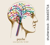 psyche  sketched head and brain ...   Shutterstock .eps vector #366603716