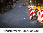 road work with orange traffic... | Shutterstock . vector #366606980