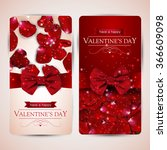set of two valentines day cards ... | Shutterstock .eps vector #366609098