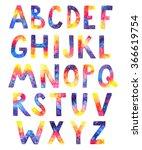 watercolor cosmic alphabet on...   Shutterstock . vector #366619754