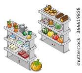 two grocery shelves stuffed... | Shutterstock .eps vector #366619838
