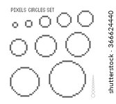 vector pixel circles set. | Shutterstock .eps vector #366624440
