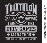 athletic sport triathlon hawaii ... | Shutterstock .eps vector #366638174