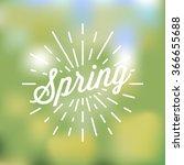 spring retro badge on blur... | Shutterstock .eps vector #366655688