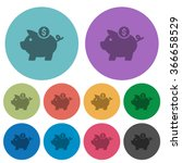 color dollar piggy bank flat...