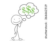 stick man thinking of money ... | Shutterstock .eps vector #366662519