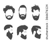 hair and beards  vector set | Shutterstock .eps vector #366676124
