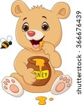 Cartoon Funny Baby Bear Holding ...