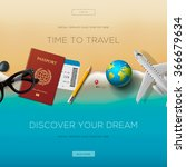colourful travel banner set for ... | Shutterstock .eps vector #366679634