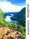Small photo of Mountain peak view with blue sky, river and trees from Delaware Water Gap, Pennsylvania.