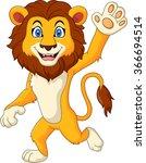 cartoon funny lion waving hand | Shutterstock .eps vector #366694514