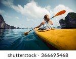 woman exploring calm tropical... | Shutterstock . vector #366695468