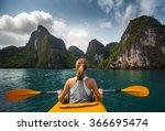 Woman Exploring Calm Tropical...