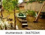 Boat In Vilage On Bali Island