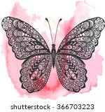 Stock vector hand drawn vector ornate butterfly illustration doodle butterfly drawing on the watercolor 366703223