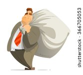 fat rich business man... | Shutterstock .eps vector #366705053